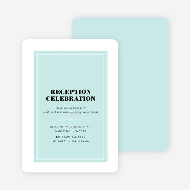 Simple & Chic Wedding Reception Cards - Blue