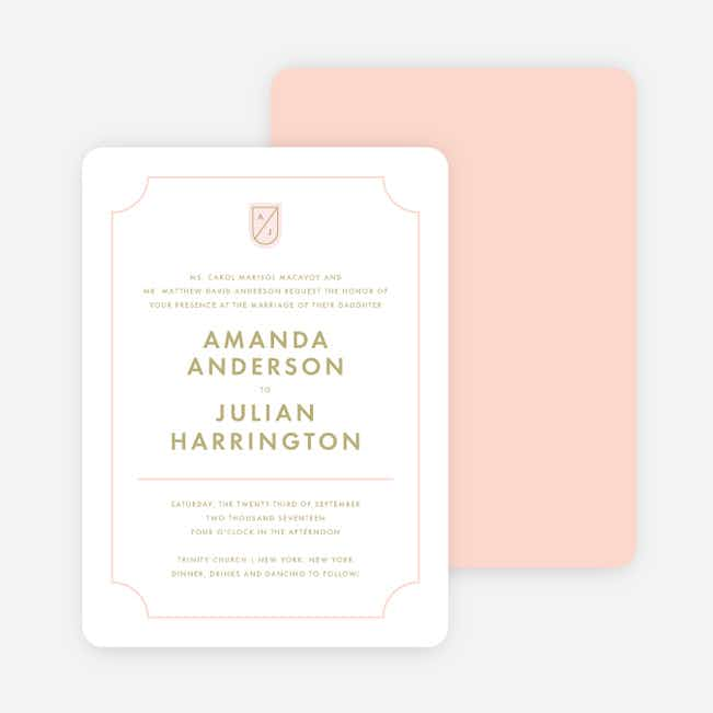 Family Crest Wedding Invitations - Pink
