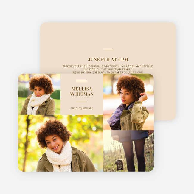 4 Photo Graduation Cards - Brown