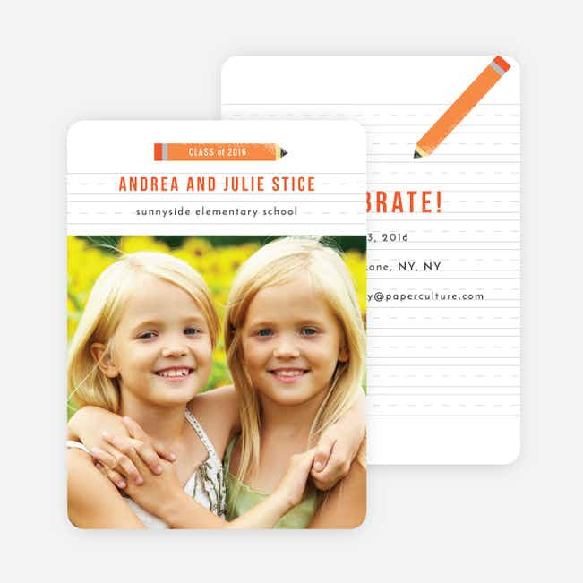 It's Elementary Graduation Invitations - Orange