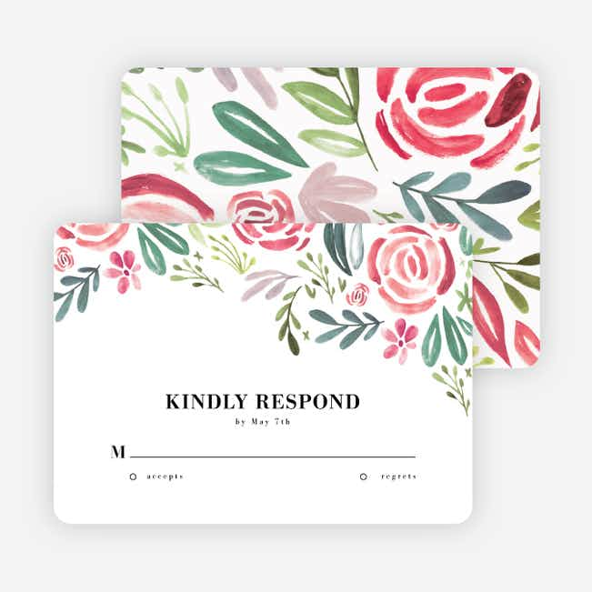 Strokes of Floral Wedding Response Cards - Red