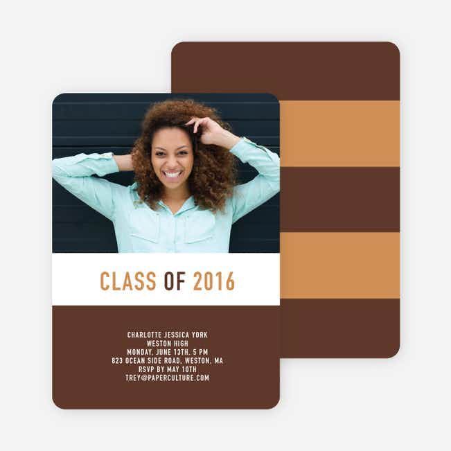 Unique Modern Graduation Announcements and Invitations - Espresso