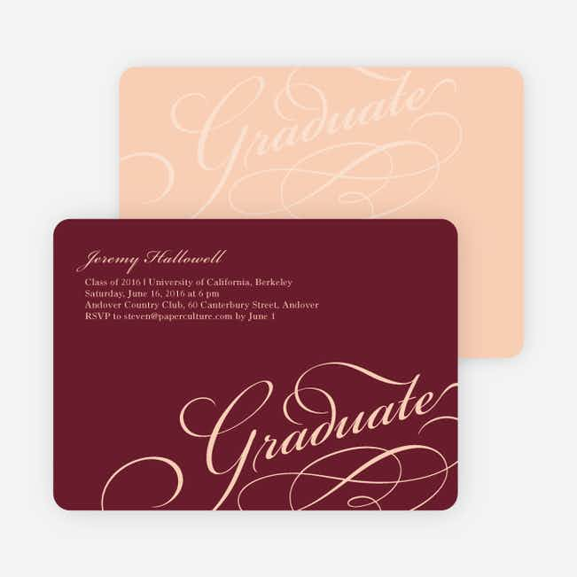 Graduation Script Invitations - Burgundy