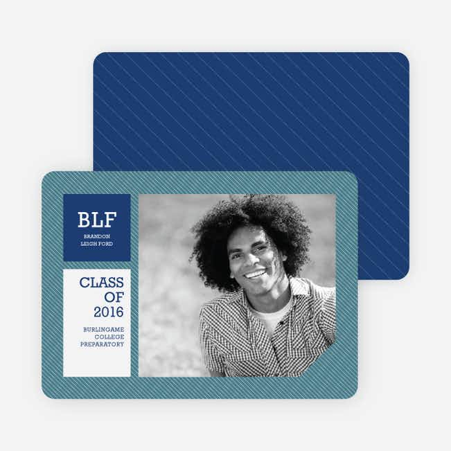 Graduation Stripes Graduation Announcements - Cadet Blue