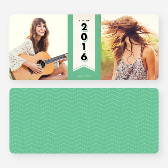 Chevron Graduation Announcements - Green