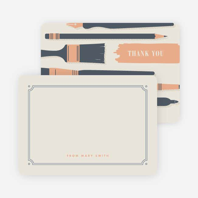 Art Lovers Canvas Personal Stationery - Beige