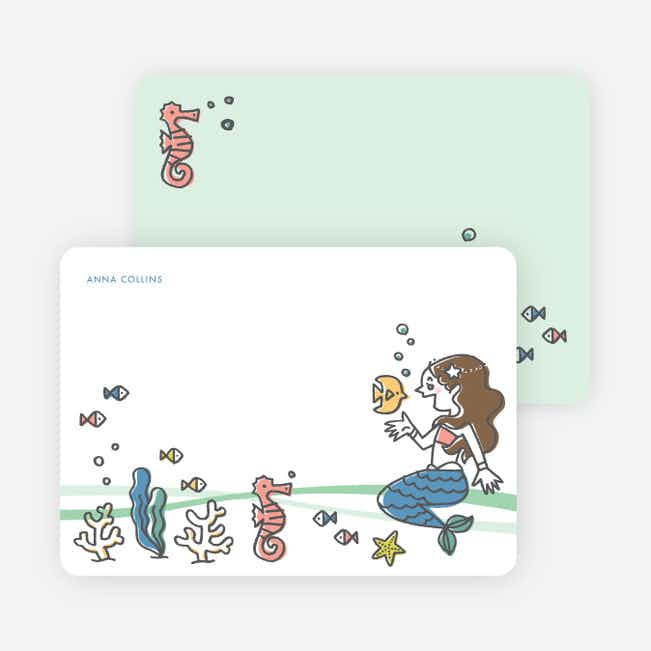Mermaids Under the Sea Stationery - Brown