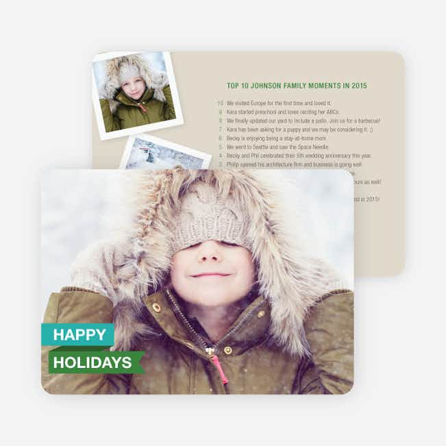 Top 10 Year in Review List Holiday Photo Cards - Blue