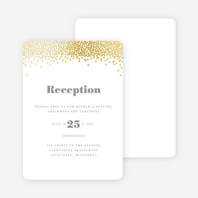 Confetti of Joy Wedding Reception Cards - White
