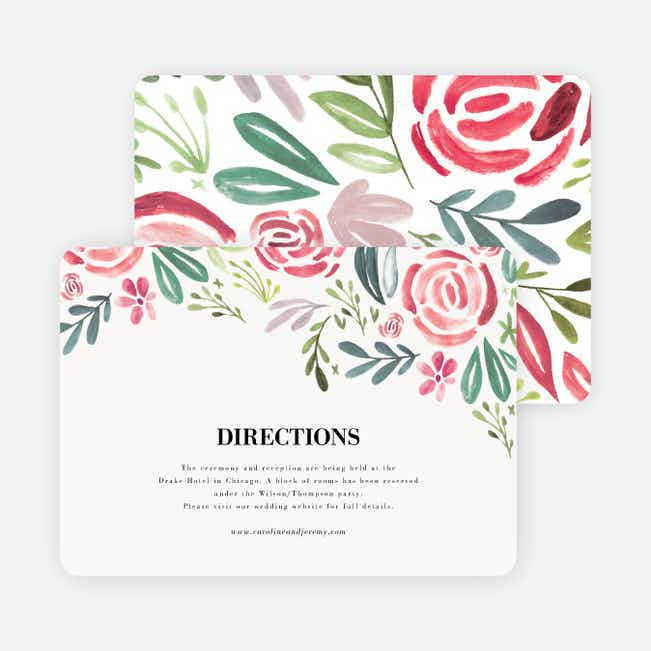 Strokes of Floral Wedding Information Cards - Red