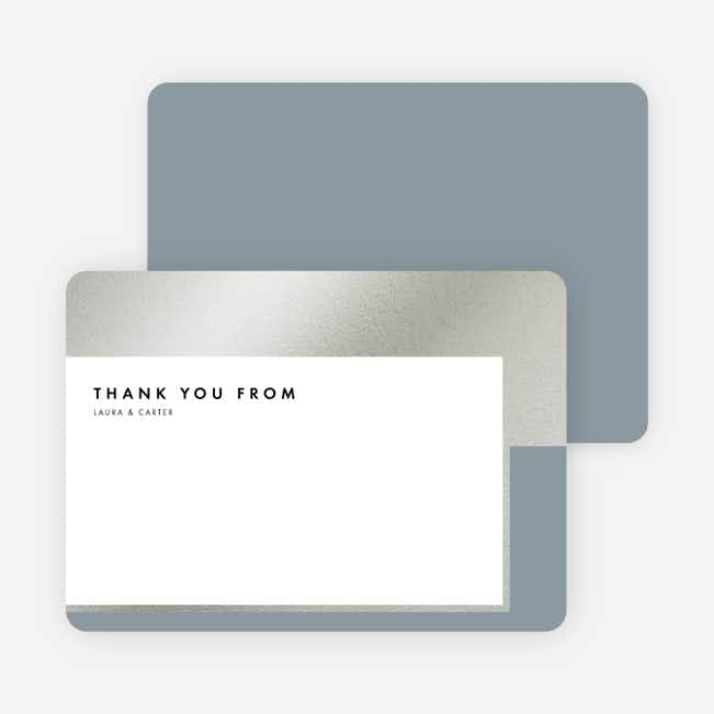 Foil Blocks Wedding Thank You Cards - Blue