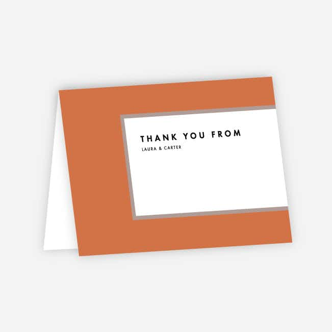 Foil Blocks Wedding Thank You Cards - Orange