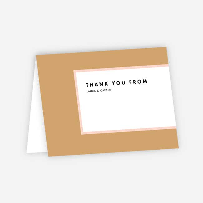 Foil Blocks Wedding Thank You Cards - Pink