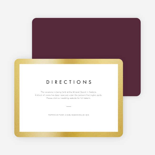Wedding Frame of Mind Wedding Direction Cards - Purple