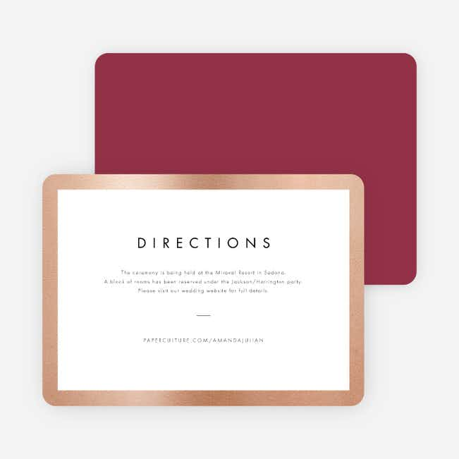 Wedding Frame of Mind Wedding Direction Cards - Red