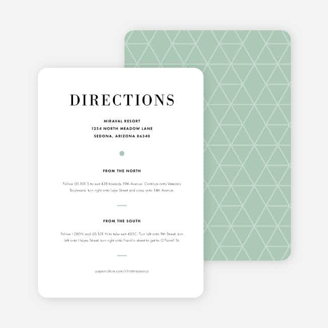 Converging Paths Wedding Direction Cards - Green
