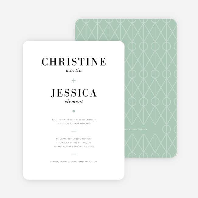 Converging Paths Wedding Invitations - Green