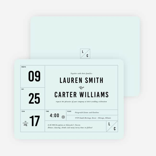 It's a Date Wedding Invitations - Blue