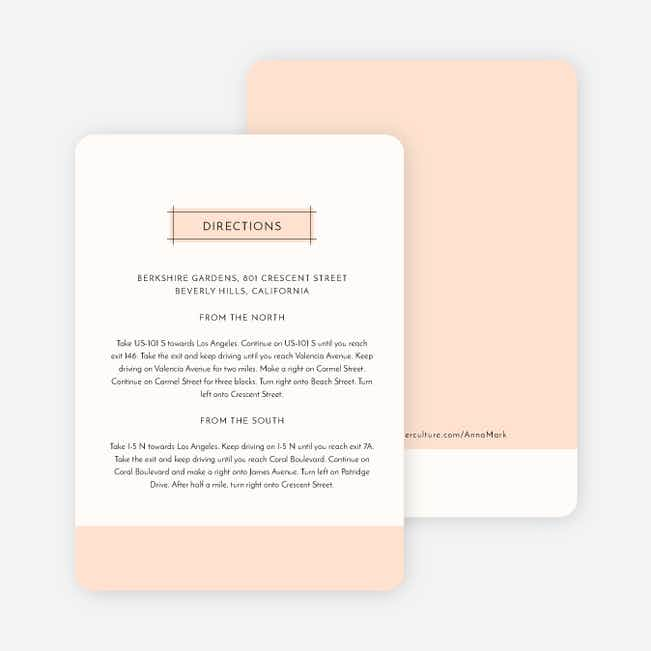 Simple Lines Wedding Direction Cards - Pink