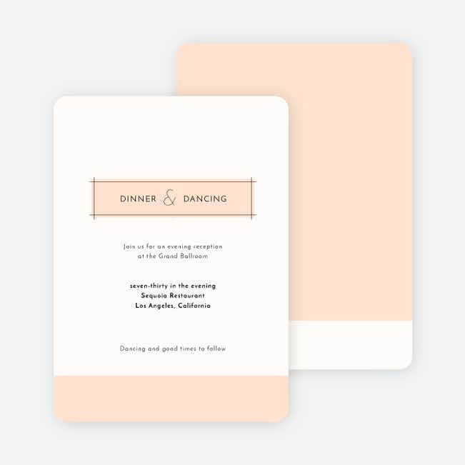 Simple Lines Wedding Reception Cards - Pink
