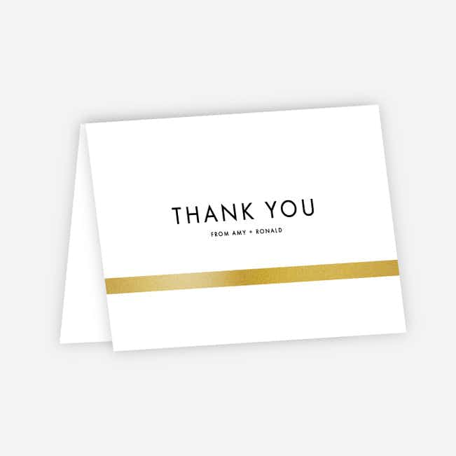 Stripe It Wedding Thank You Cards - White