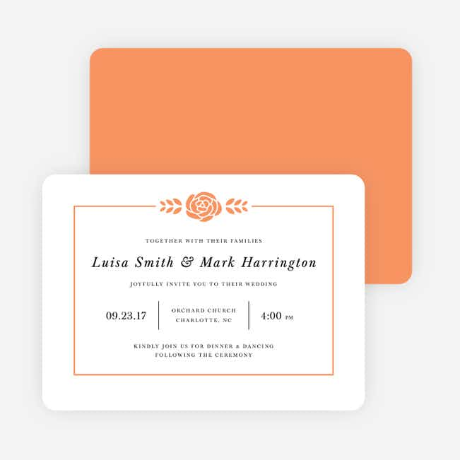 Coming Up Roses Wedding Invitations - Orange