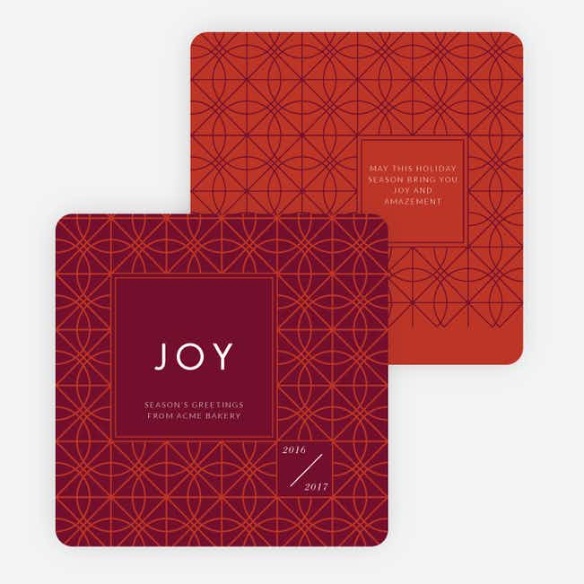 Abstract Patterns Corporate Holiday Cards - Red