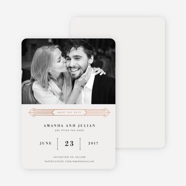 Art Deco Save the Dates - Beige