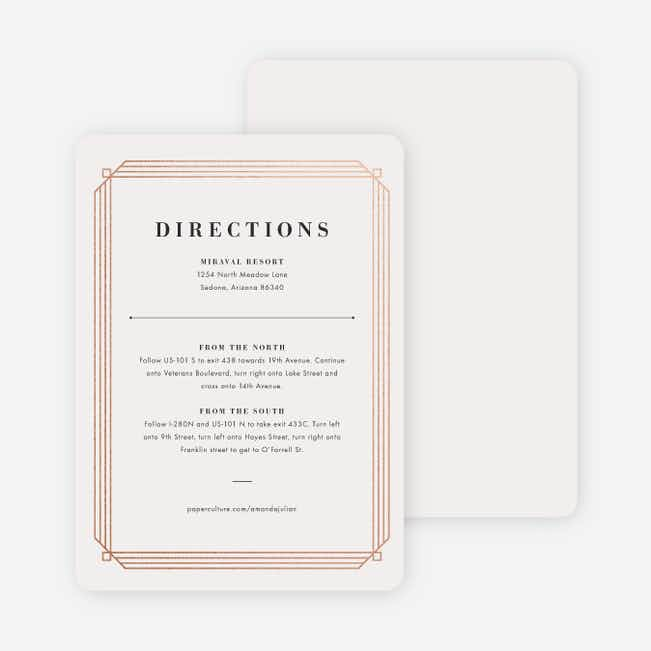 Art Deco Wedding Direction Cards - Beige