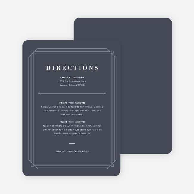 Art Deco Wedding Direction Cards - Blue