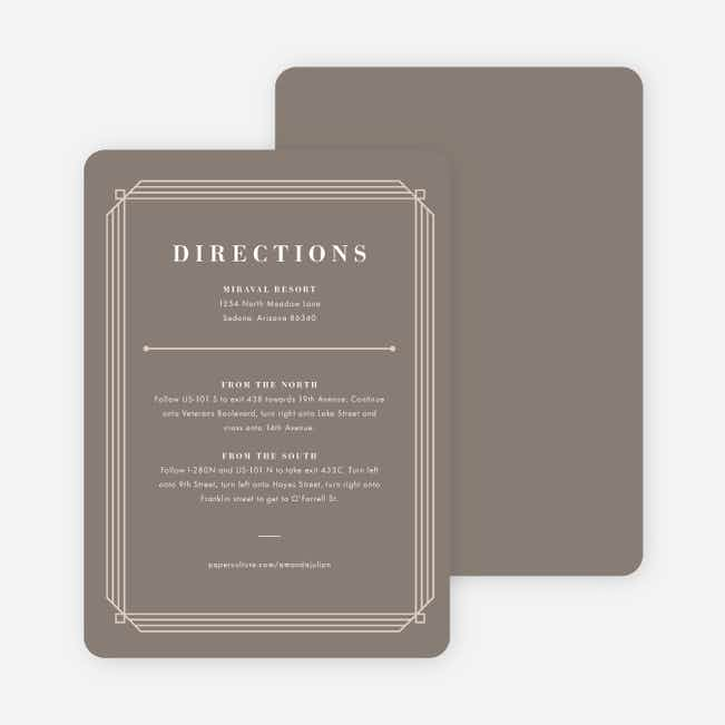 Art Deco Wedding Direction Cards - Gray