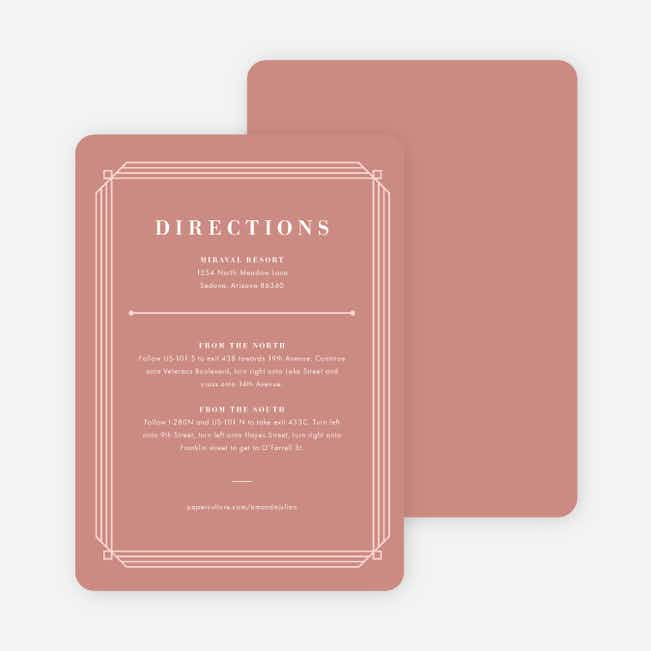 Art Deco Wedding Direction Cards - Pink