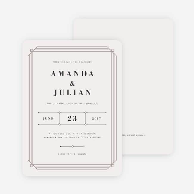 Art Deco Wedding Invitations - Beige