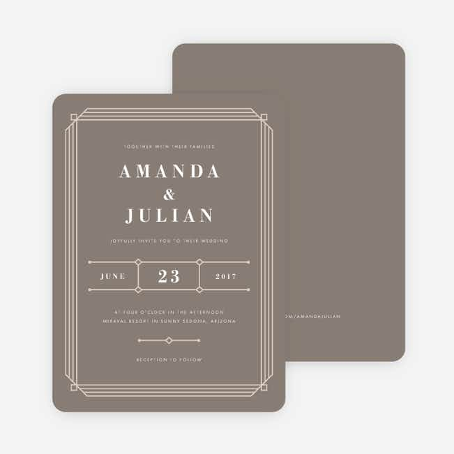 Art Deco Wedding Invitations - Gray