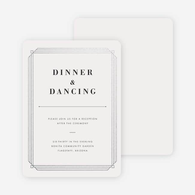 Art Deco Wedding Reception Cards - Beige