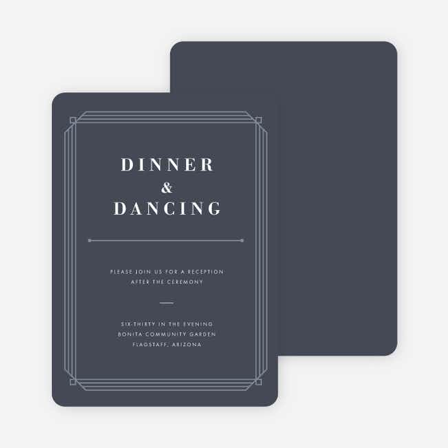 Art Deco Wedding Reception Cards - Blue