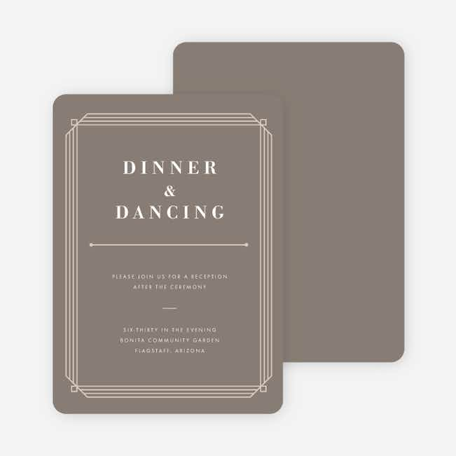 Art Deco Wedding Reception Cards - Gray