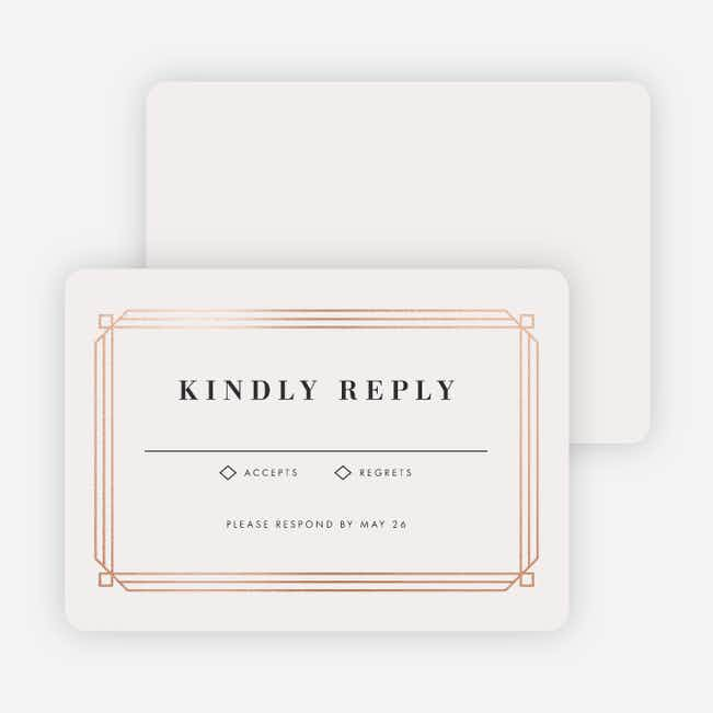 Art Deco Wedding Response Cards - Beige