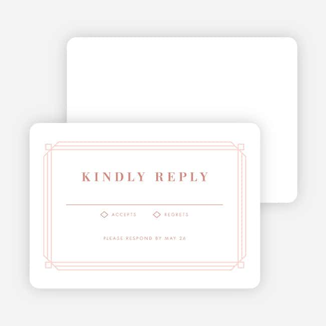 Art Deco Wedding Response Cards - Pink