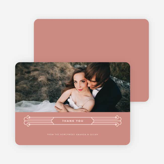 Art Deco Wedding Thank You Cards - Pink