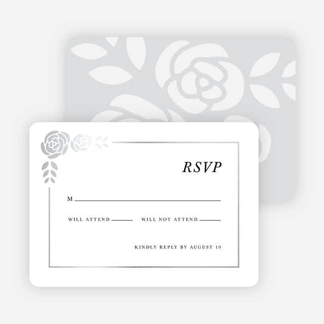 Coming Up Roses Wedding Response Cards - Black