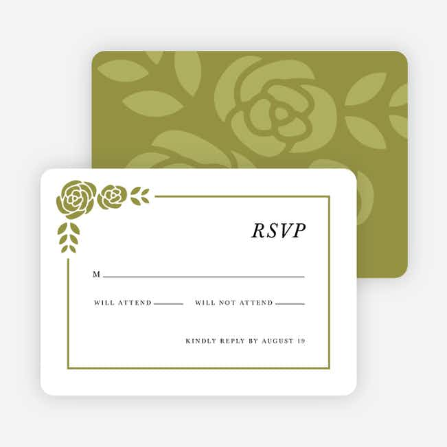 Coming Up Roses Wedding Response Cards - Green