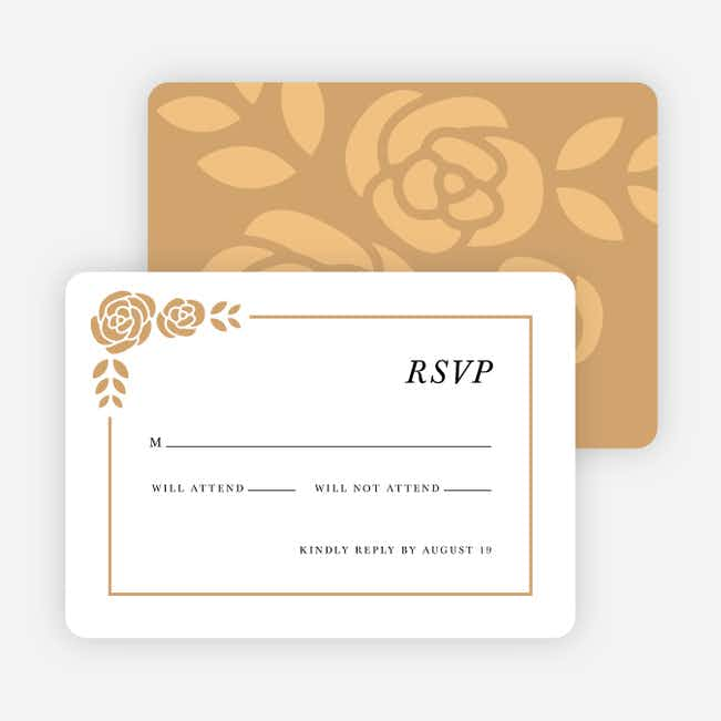Coming Up Roses Wedding Response Cards - Beige