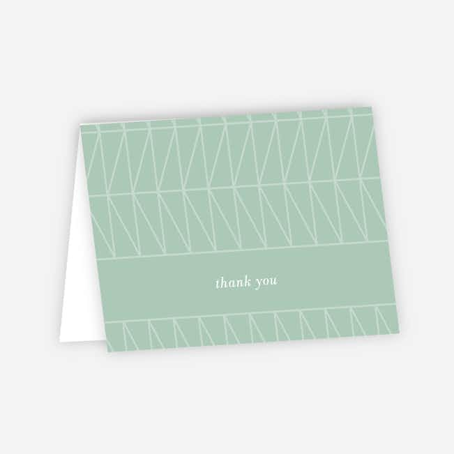 Converging Paths Wedding Thank You Cards - Green
