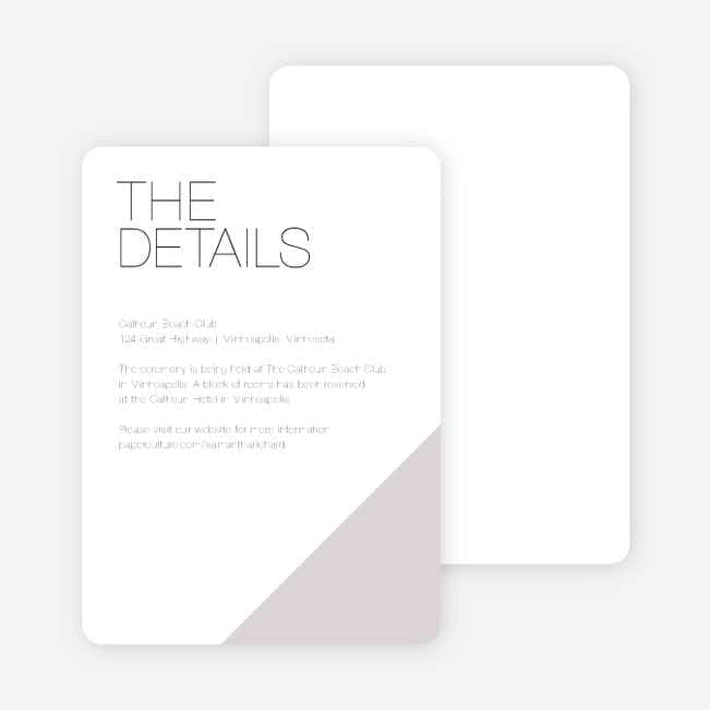 Cornerstones of Bliss Wedding Direction Cards - Gray