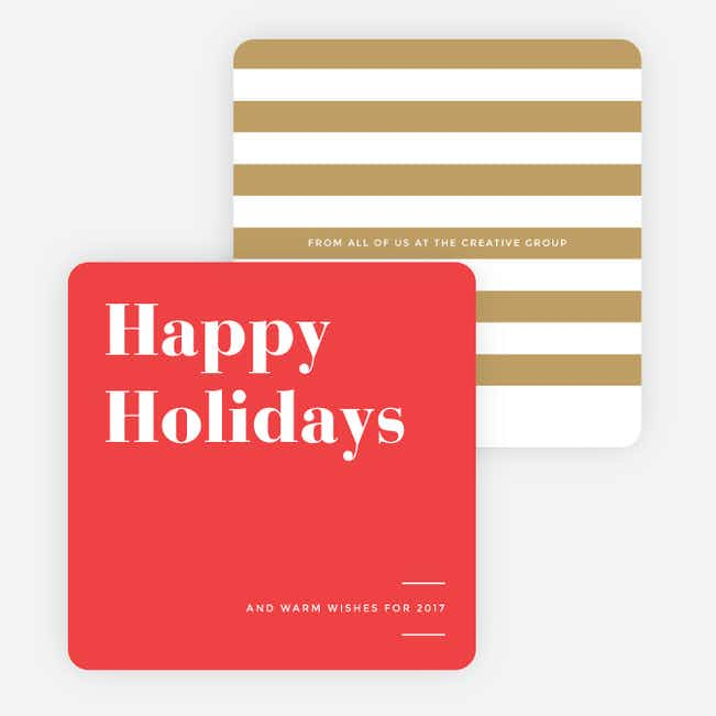 Holiday Stripes Corporate Holiday Cards - Red