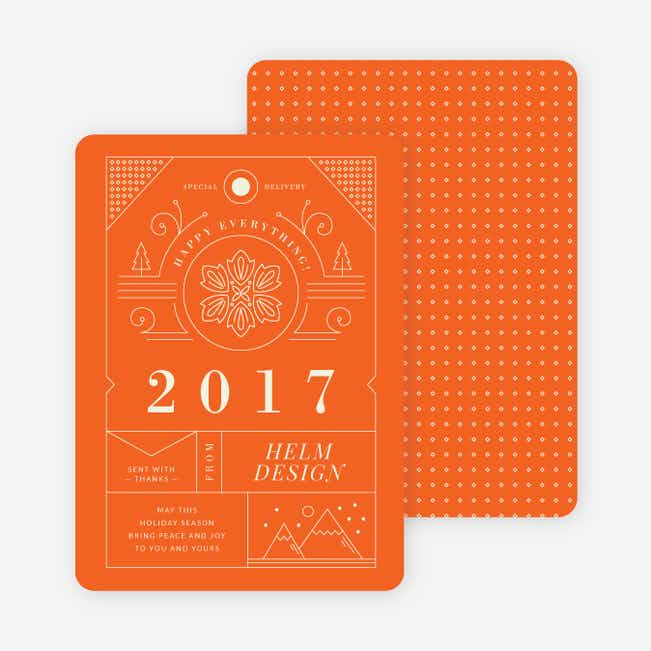 Intricate Details Corporate Holiday Cards - Orange