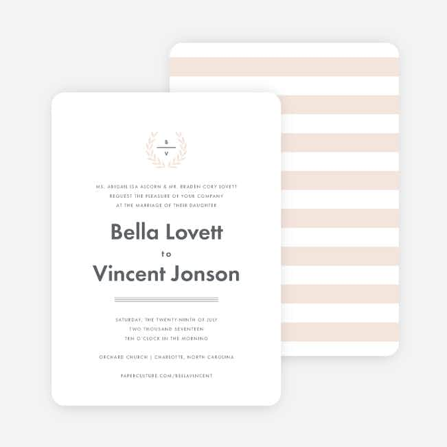 Look to Your Laurels Wedding Invitations - Beige