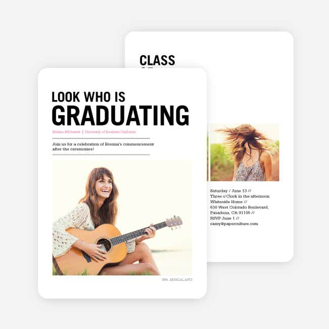 Newsflash Graduation Invitations - Black