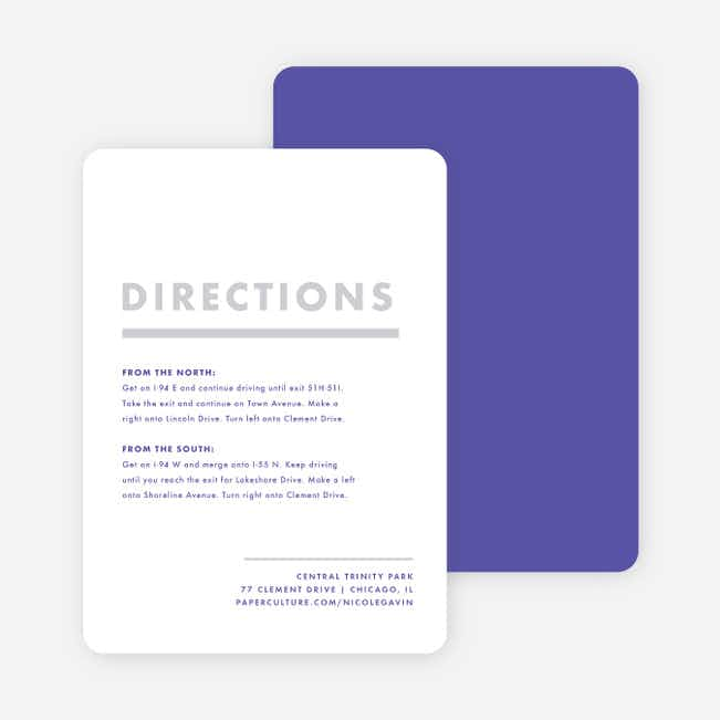 Today's Modernist Wedding Direction Cards - Purple